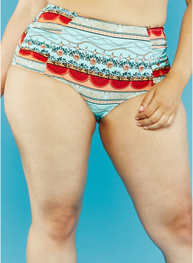 Plus Size Printed High Waisted Bikini Bottoms,MULTI COLOR,large