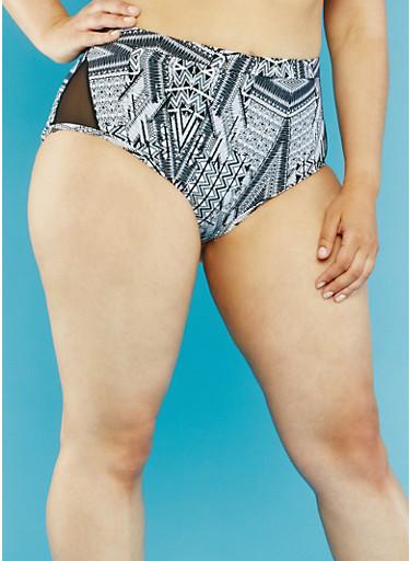 Plus Size High Waisted Aztec Print Bikini Bottoms,BLACK/WHITE,large