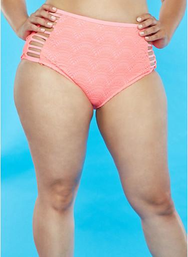 Plus Size High Waisted Crochet Bikini Bottoms,'EON PINK,large