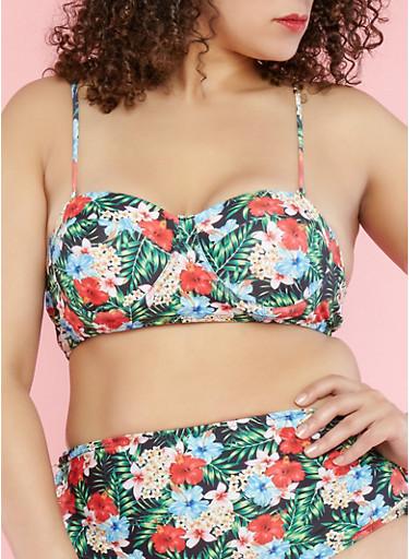 Plus Size Tropical Print Bikini Top,GREEN,large