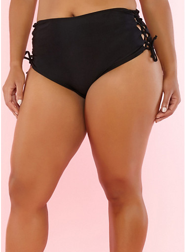 Plus Size Lace Up Bikini Bottom,BLACK,large