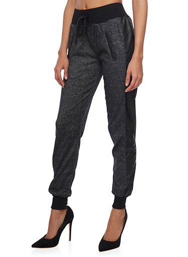 Online Exclusive - Marled Knit Joggers with Quilted Faux Leather Stripe,BLACK,large