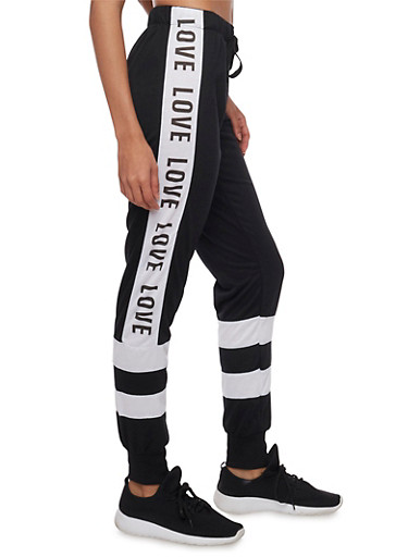 Striped Joggers with Love Print and Drawstring,BLACK,large