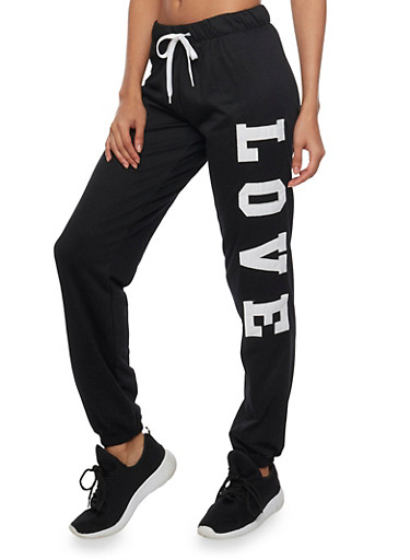 Online Exclusive - Drawstring Joggers with Love Patches,BLACK,large