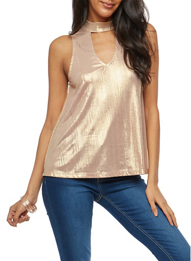 Choker Neck Metallic Stretch Knit Top,ROSE GOLD,large
