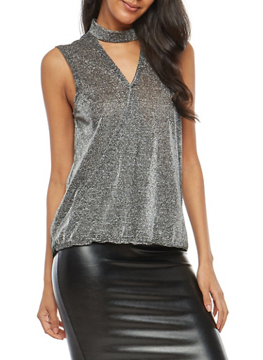 Glitter Stretch Knit Faux Wrap Top,GRAPHITE,large