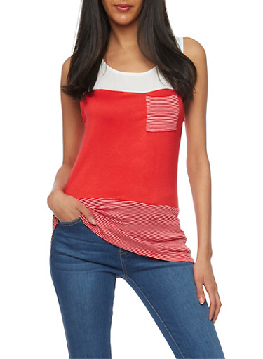 Color Block Tank Top with Stripe Panel Detail,RED PTN,large