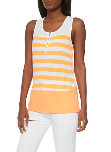 Striped Half Zip Front Tank Top,NEON CORAL/IVY,large