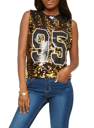 Gold Reversible Sequin Tank Top,GOLD/BLK,large