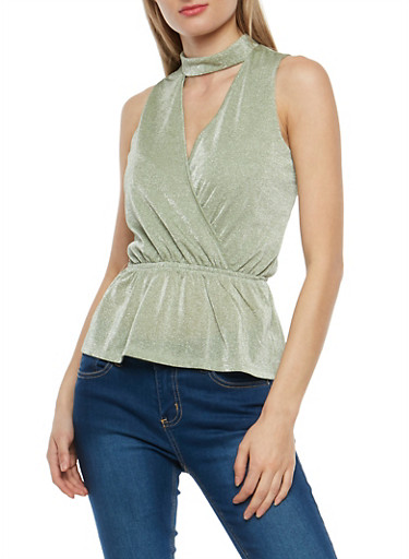 Shimmer Knit Keyhole Peplum Top,MINT,large