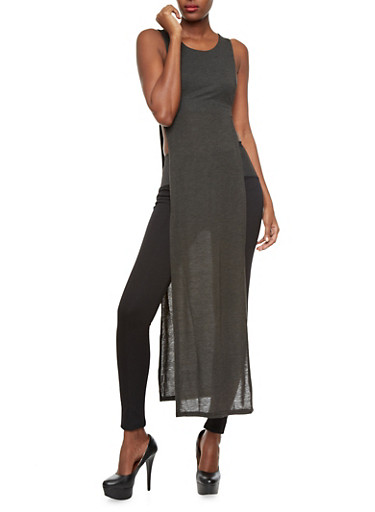Sleeveless High-Slit Maxi Top,CHARCOAL,large