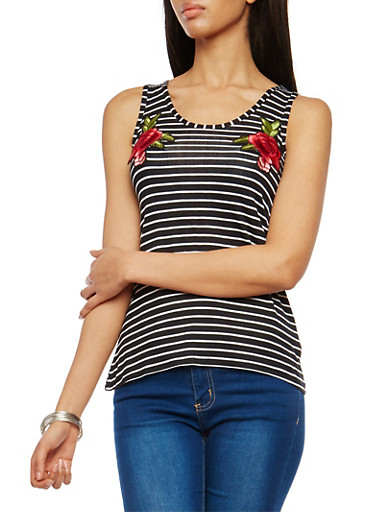 Striped Tank Top with Floral Appliques,BLACK/WHITE,large