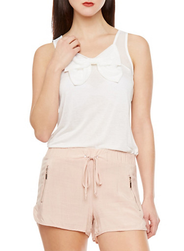 Soft Knit Tank Top with Chiffon Yoke and Bow Front