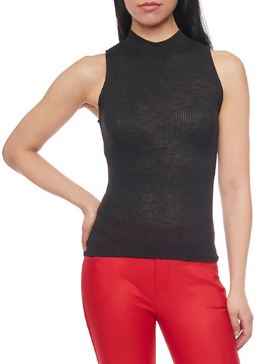 Sleeveless Rib Knit Mockneck Top,BLACK,large