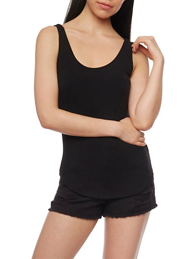 Sleeveless Rib Knit Tank Top with Caged Back,BLACK,large