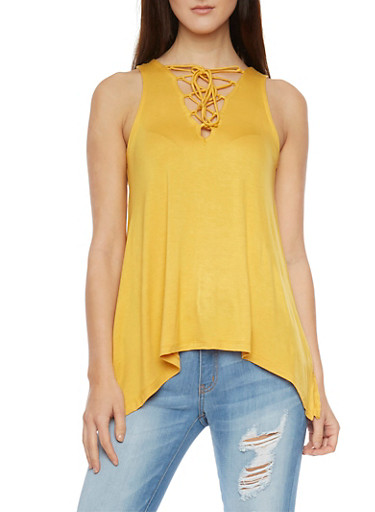 Sleeveless Sharkbite Top with Lace Up V Neck,MUSTARD,large
