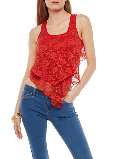 Tiered Lace Tank Top,RED,large