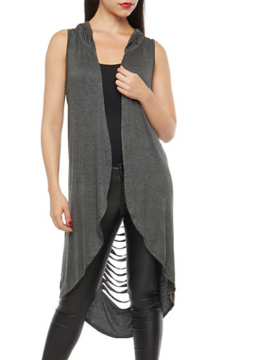 Slashed Back Hooded Duster,CHARCOAL,large