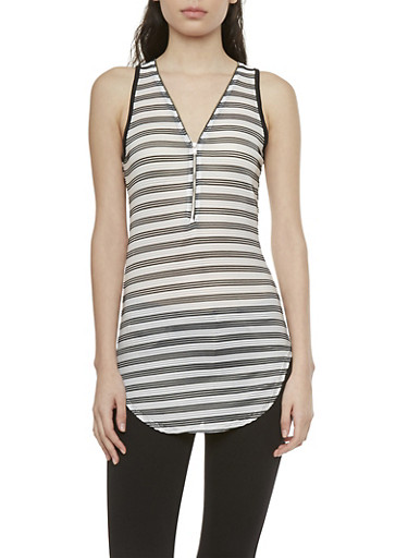 Striped Ribbed Tunic Top with Zipper Neckline,BLACK/WHITE,large