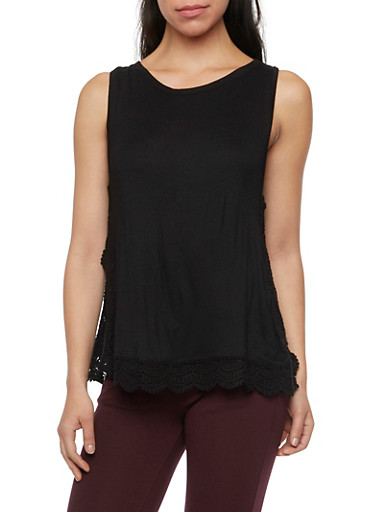 Vented Tank Top with Crochet Trim,BLACK,large