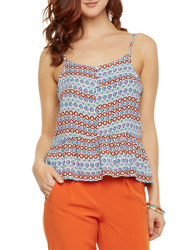 Spaghetti Strap Tank Top with Boho Print,RUST MULTI,large