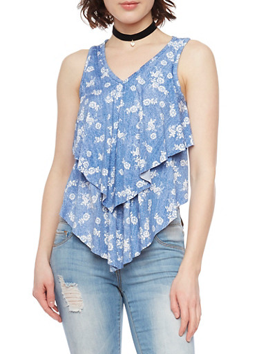 Tiered Sleeveless Floral Print Tank Top,DENIM,large