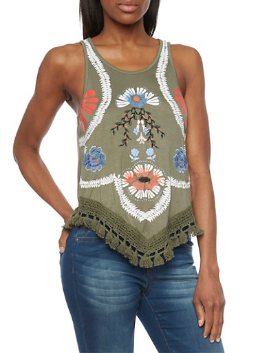 Floral Detail Fringed Hem Tank Top,OLIVE,large