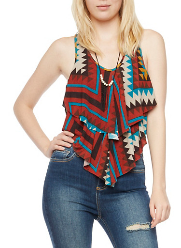 Ruffle Crop Top in Geometric Print with Necklace,MULTI COLOR,large
