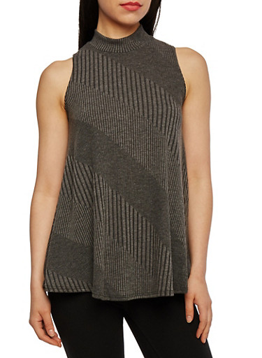 Knit Swing Top with Mock Neck,CHARCOAL,large