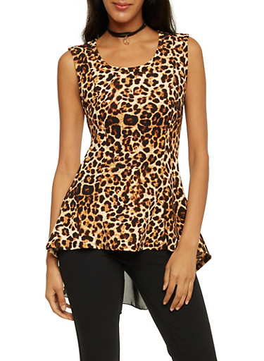 Leopard Print Top with Scoop Neck and Necklace,BROWN,large