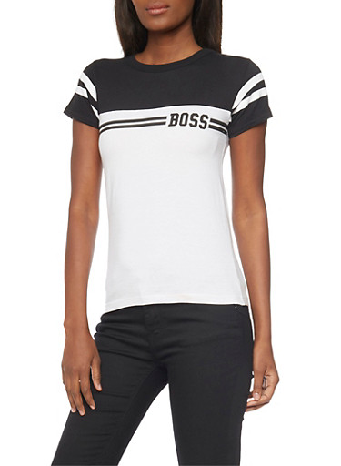 Boss Graphic Color Blocked T Shirt,BLACK/WHITE,large