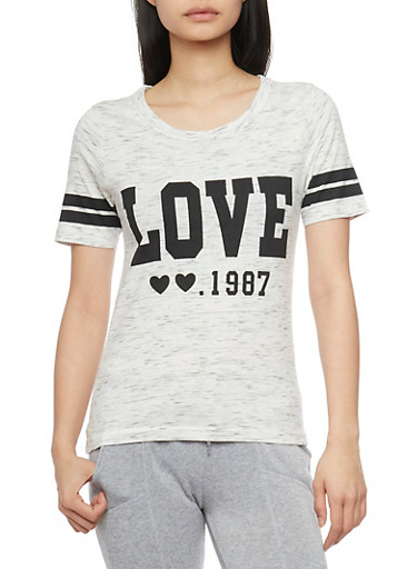 Marled Short Sleeve Love Graphic T Shirt,OATMEAL,large