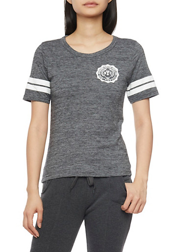 Marled NYC Graphic Varsity T Shirt,CHARCOAL,large
