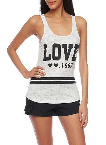 Graphic Tank Top with Love 1987 Print,GRAY,large