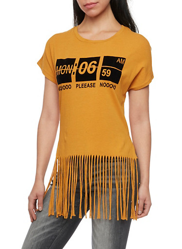 Fringed Tee with Velvet Monday Graphic,MUSTARD,large