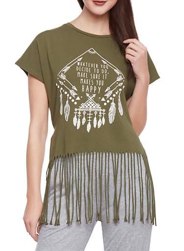 Graphic T Shirt with Fringe Hem,OLIVE,large