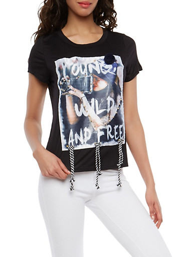 Graphic T Shirt with Braided Detail,BLACK,large