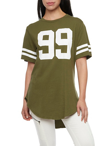 Oversized Tee with 99 Hustle Print,OLIVE,large