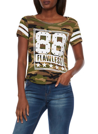 Camo Tee with 88 Flawless Graphic,OLIVE,large