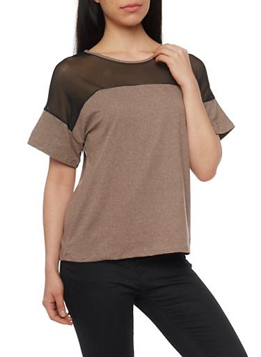 Mesh Yoke Marled T Shirt,MOCHA/BLK,large