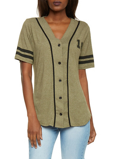Short Sleeve Forever 18 Button Front Baseball Jersey,OLIVE,large