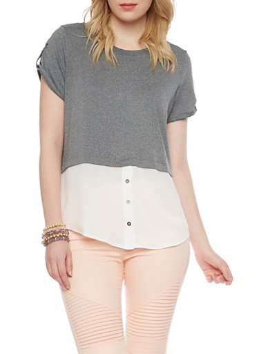 Two Tone Layered Short Sleeve Top,CHARCOAL,large