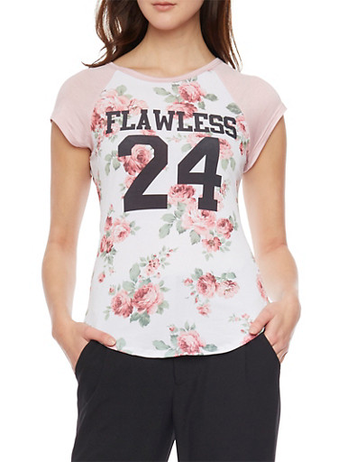 Short Sleeve Floral Print Flawless Top,BLUSH,large