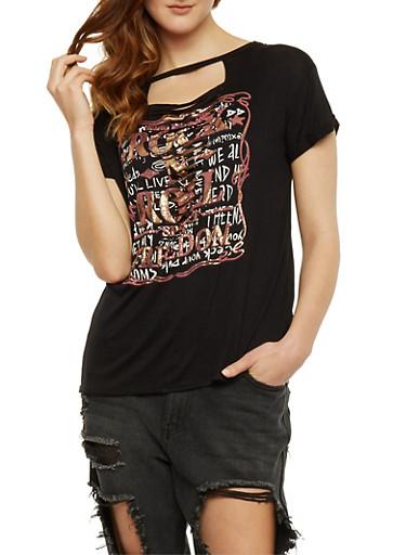 Rock n Roll Graphic Lasercut Choker T Shirt,BLACK,large