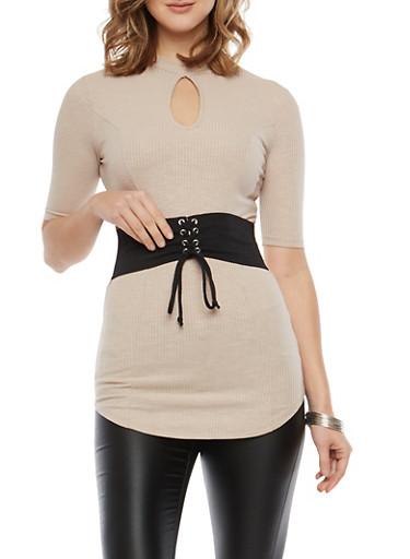 Rib Knit Tunic with Lace Up Belt Detail,TAUPE,large