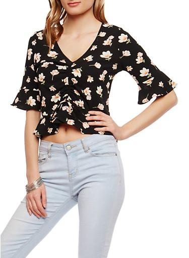 Floral Peplum Top,BLACK,large