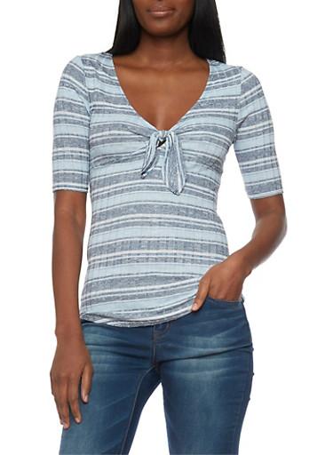 Short Sleeve Striped Rib Knit V Neck Top,CHAMBRAY/NAVY,large