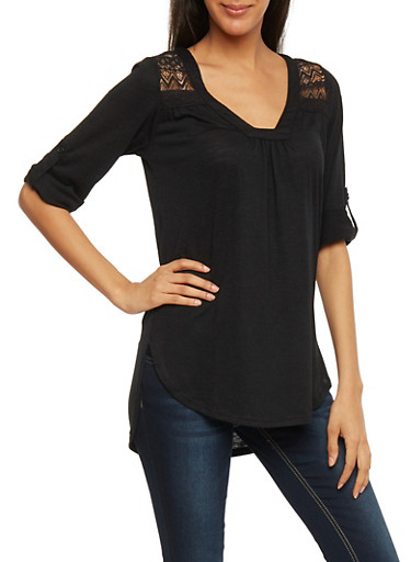 High Low Top with Lace Panels,BLACK,large