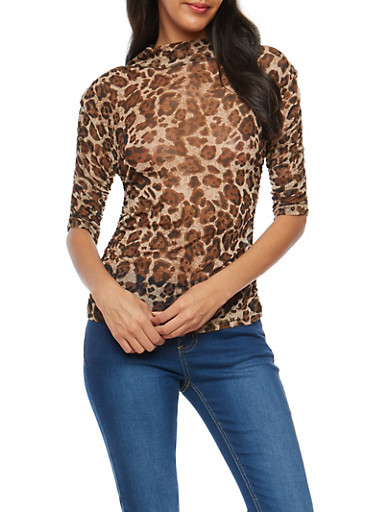 Leopard Ruched Sleeve Mesh Top,BROWN,large