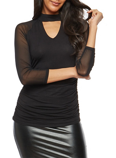 Choker Neck Mesh Sleeve Top,BLACK,large